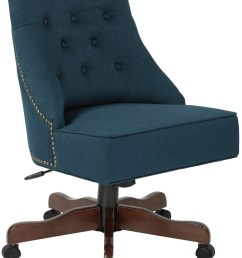rebecca tufted back office chair in klein azure fabric with nailheads with coffee base [ 1080 x 1424 Pixel ]