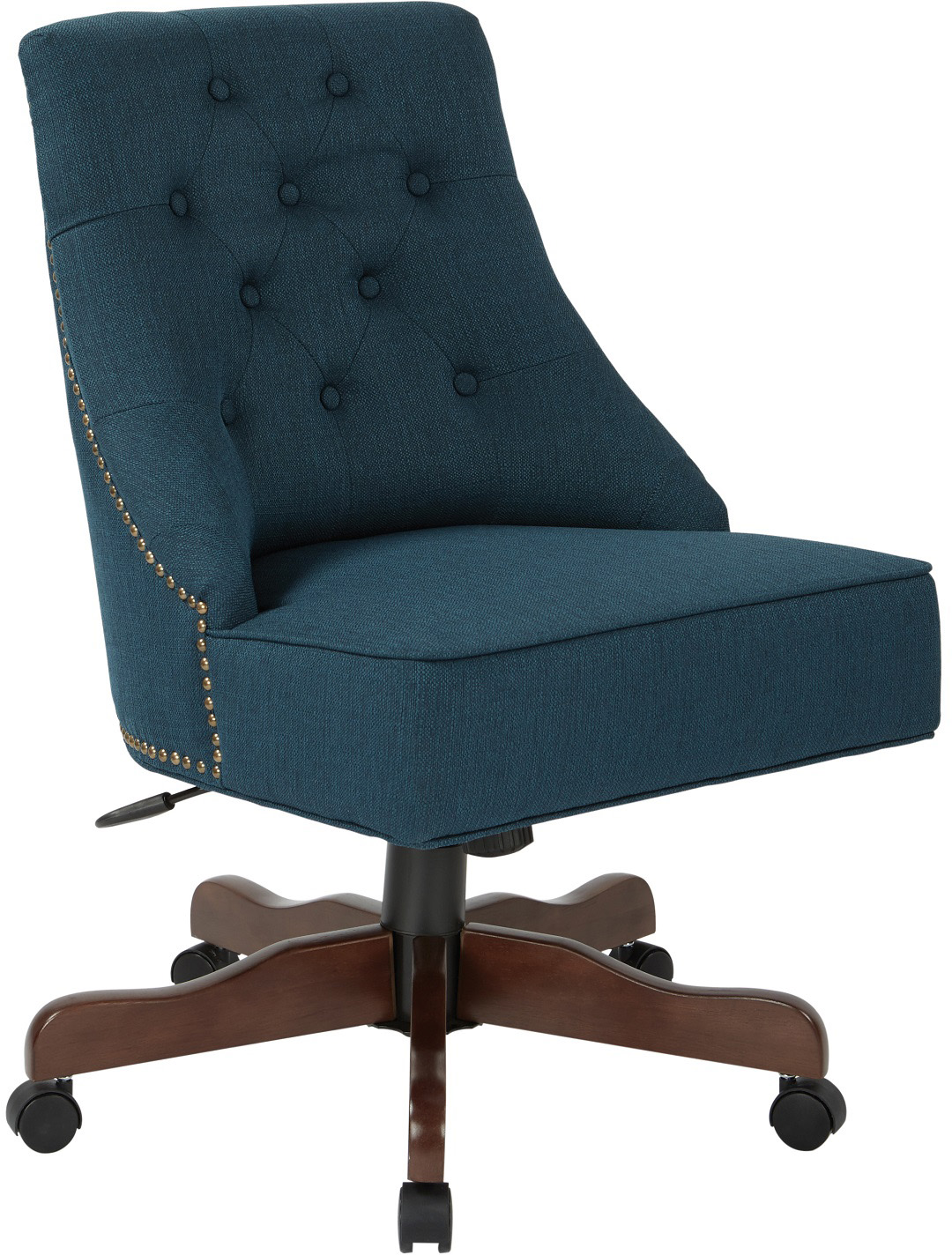 hight resolution of rebecca tufted back office chair in klein azure fabric with nailheads with coffee base