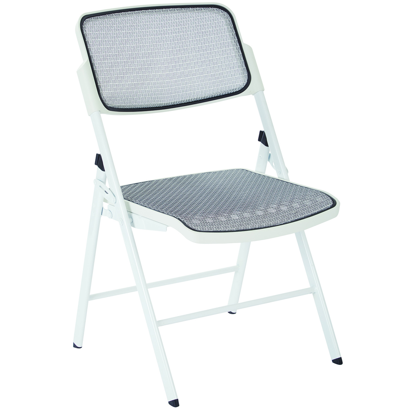 White Stackable Chairs Office Star 2 Modern White Fabric Metal Progrid Mesh Seat Back Folding Chairs 81101