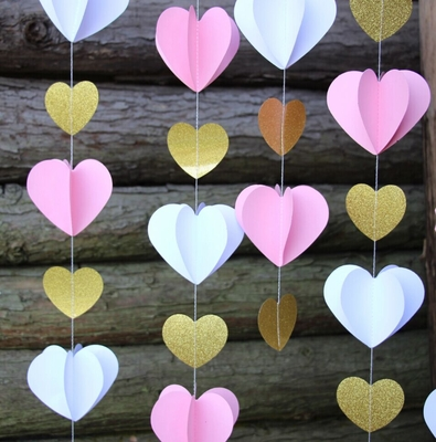 3D Pink and Gold Heart Paper Vertical Garland Banner 6FT