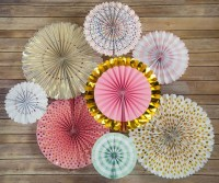 Metallic Celebration Paper Flower Fan Backdrop Party Wall