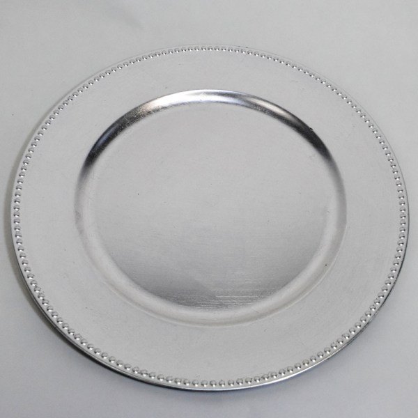 Silver Beaded Heavy Duty Charger Plate 13 Inch eBay