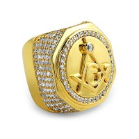 Large Masonic CZ Gold Plated Mens Ring - Gold CZ Iced Out ...