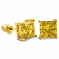 Yellow CZ Diamond Square Stud Earrings Gold - CZ Diamond ...