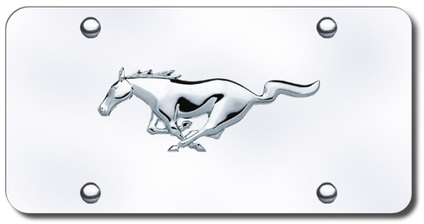 3D Chrome Ford Mustang Logo Stainless Steel License Plate