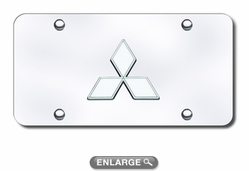 3D Chrome Mitsubishi Logo Stainless Steel License Plate
