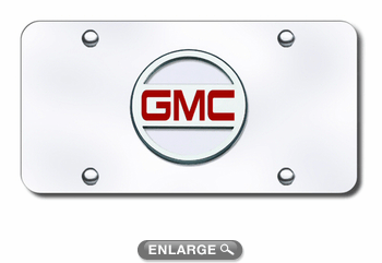 3D Chrome & Red GMC Logo Stainless Steel License Plate