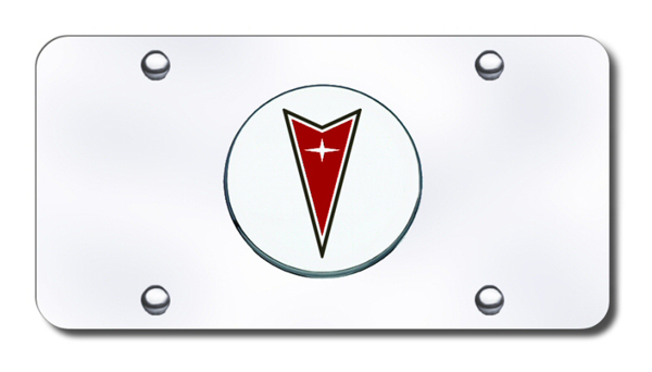 3D Chrome & Red Pontiac Logo Stainless Steel License Plate