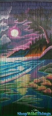 Colorful Beach Scene Bamboo Painted Beaded Curtain  90