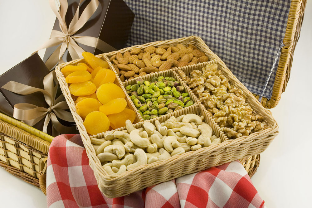 Natural Nut Gift Baskets Fruit  Nut Baskets with Free