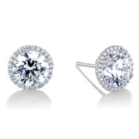 Cz Stud Earrings White Gold Ibb 9ct White Gold Small ...