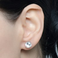 8mm Cubic Zirconia Stud Earrings 4mm X 8mm Cubic Zirconia