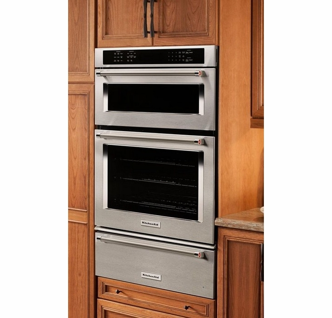 koce507ess kitchenaid 27 combination wall oven with even heat true convection lower oven stainless steel
