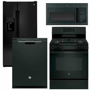black kitchen appliances wall mounted cabinets package 24 ge appliance 4 piece with gas range