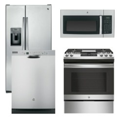 Kitchen Appliance Packages Stainless Steel Open Metal Shelving Package 5 Ge 4 Piece With Gas Slide In Range Includes Free Microwave