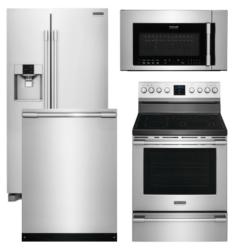 kitchen appliance packages stainless steel rubbermaid trash cans package fp1 frigidaire professional 4 piece with electric range code 15566 18075 17180 14660