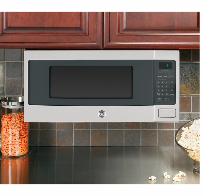 pem31sfss ge profile 24 1 1 cu ft countertop microwave with sensor cooking and kitchen timer stainless steel