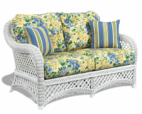 White Wicker Loveseat - Lanai | Wicker Paradise