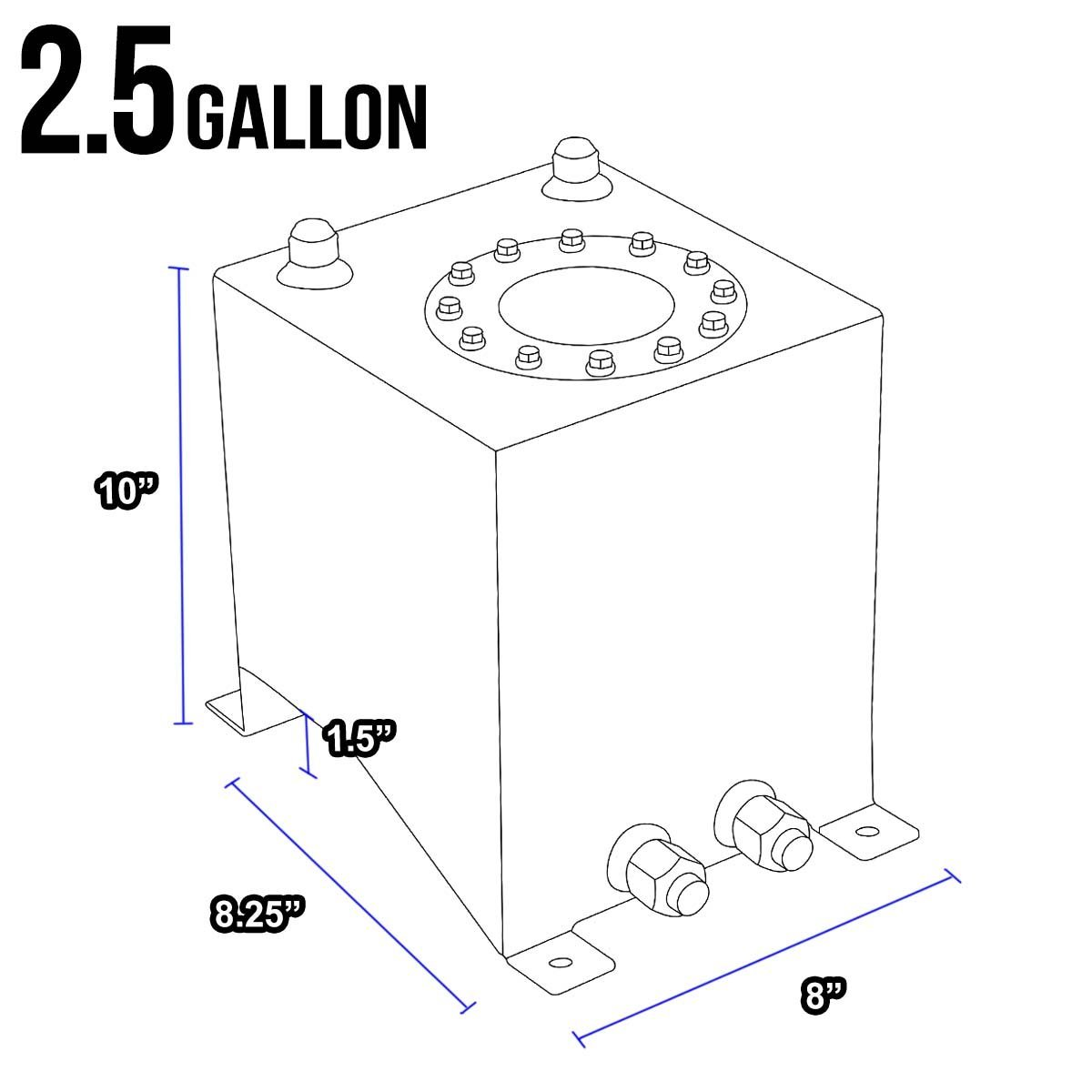 2 5 Gallon Aluminum Fuel Cell Gas Tank With Level Sender