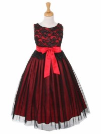 Black & Red Lace Bodice w/ Double Tulle Over Charmeuse