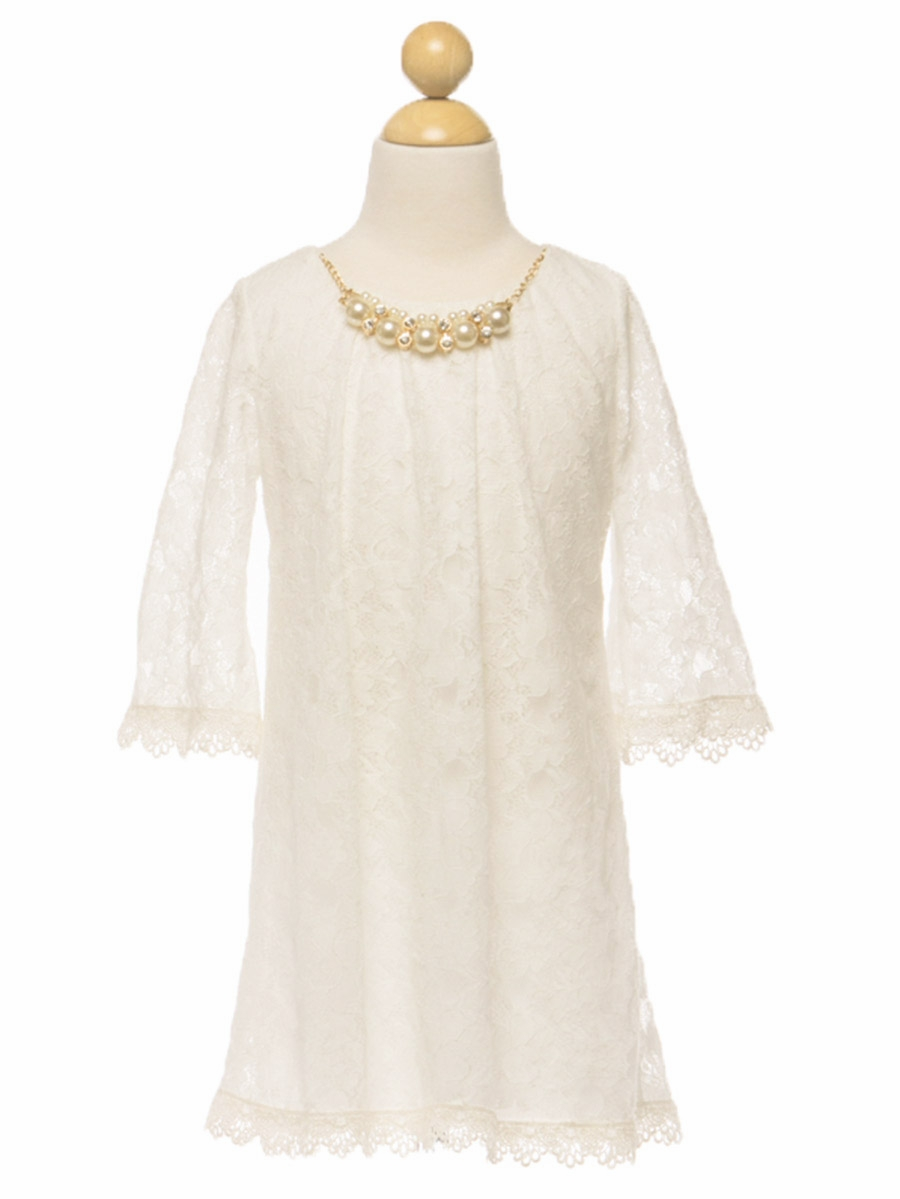 Ivory Lace Dress w Pearl Necklace