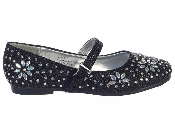 Kids Black Glitter Flats Withstrap