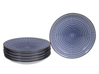 Blue and White Modern Spiral Japanese Plates Set for Six