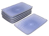 Blue and White Modern Spiral Rectangular Plates Set for Six