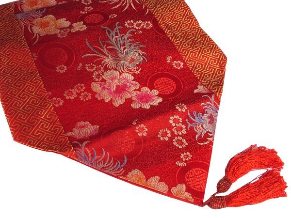 Red And Gold Lucky Floral Motif Chinese Table Runner