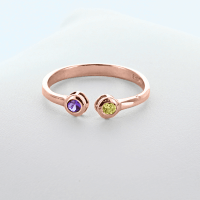 Dual Birthstone Couples Stackable Ring in Rose Gold over ...
