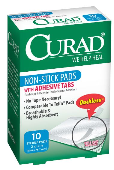 CURAD Non Stick Pads Ouchless Gauze with or without
