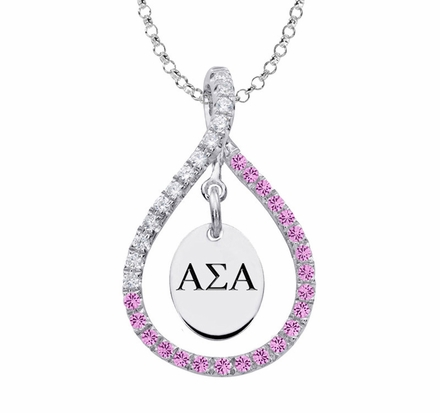Alpha Sigma Alpha Sterling Silver and Pink CZ Figure 8
