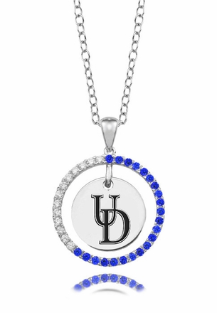 Delaware Fightin' Blue Hens Blue CZ Circle Necklace