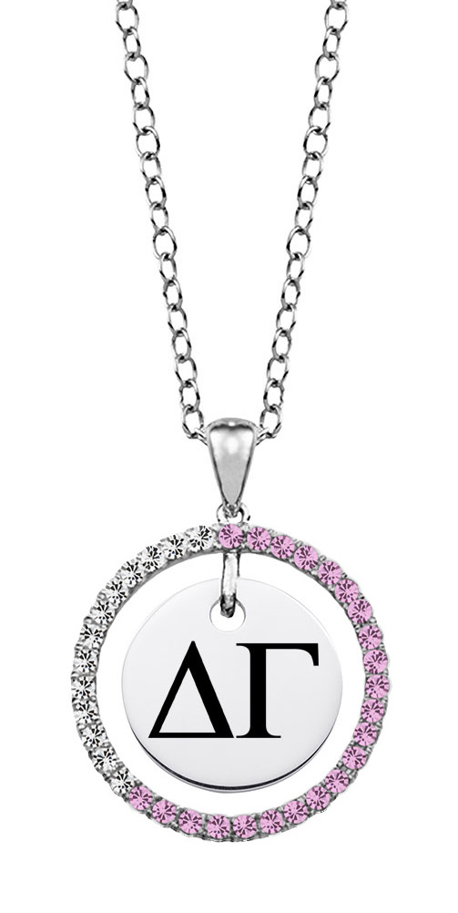 Delta Gamma Sterling Silver and CZ Circle Necklace