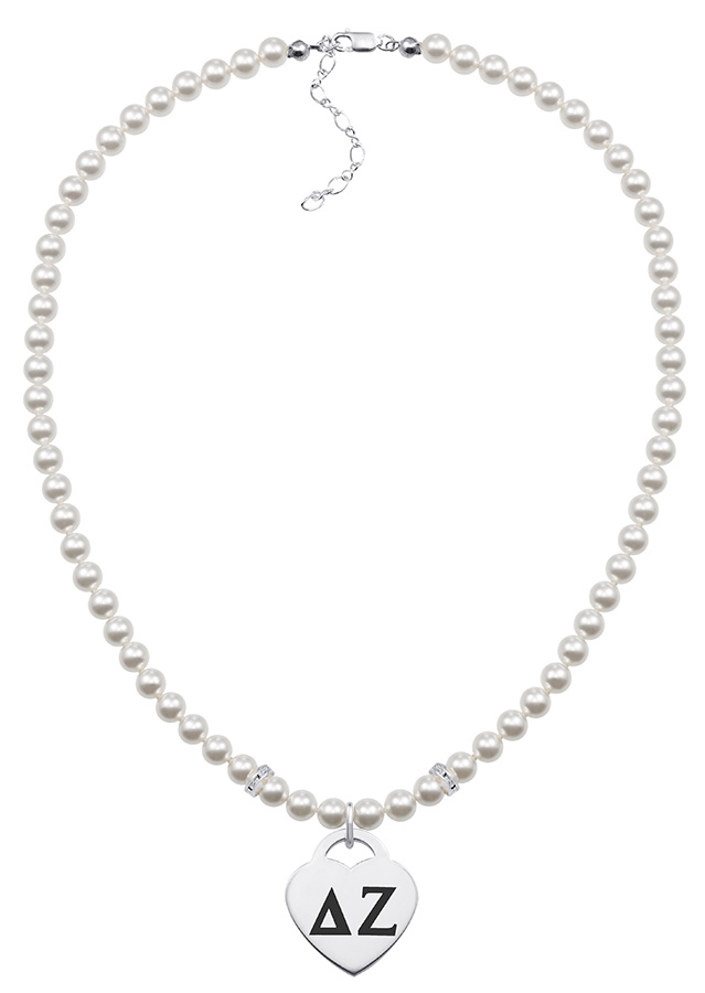 Wholesale Delta Zeta Pearl Necklace With Heart. DZ Jewelry