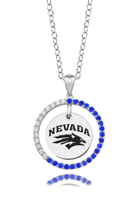 Nevada Reno Wolf Pack Blue CZ Circle Necklace