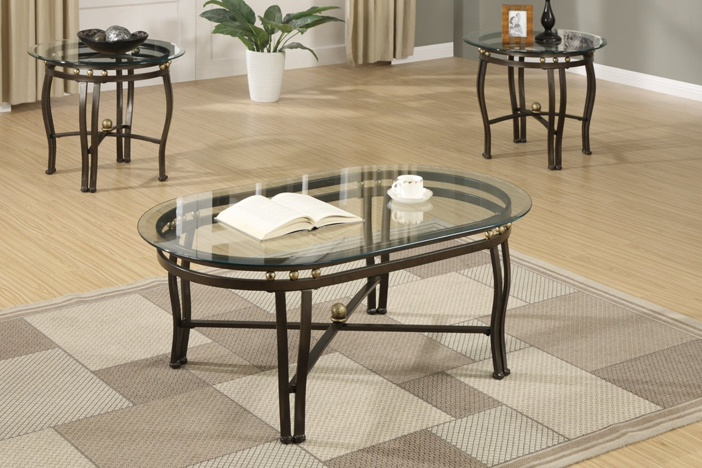 Black Glass Coffee Table Set  StealASofa Furniture