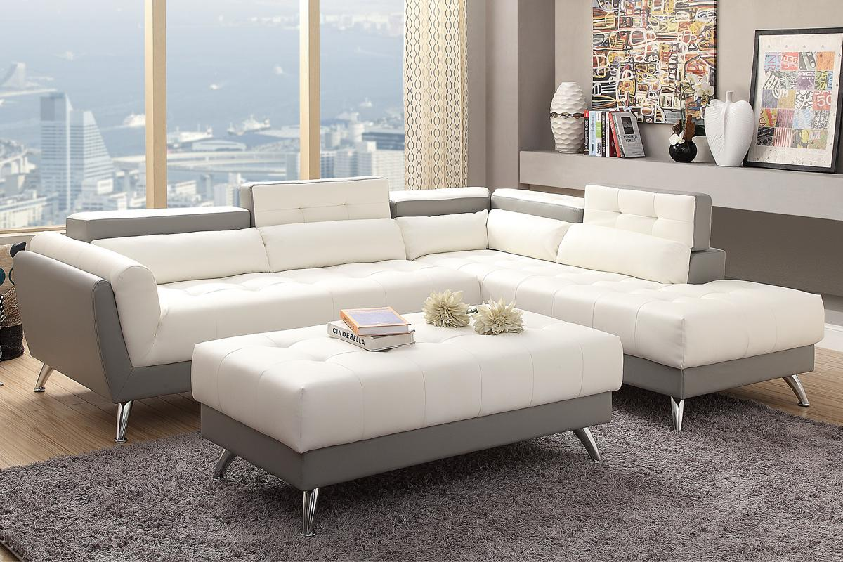 All scs leather sofas are available as 4, 3 and 2 seater sofas and have matching footstools available. White Leather Sectional Sofa - Steal-A-Sofa Furniture ...