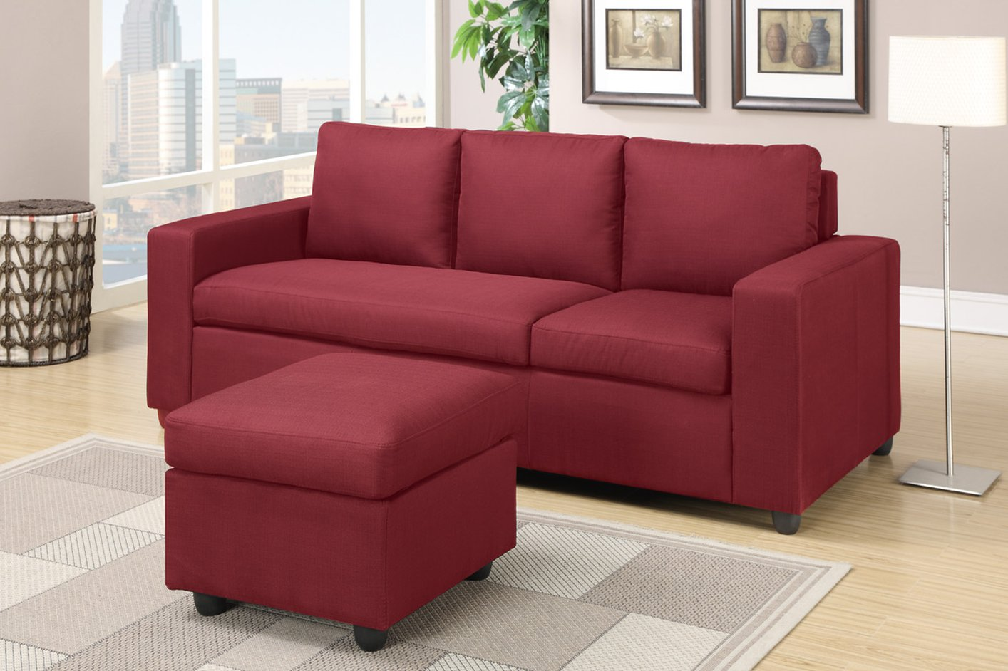 red fabric sofa leather cleaners bangalore akeneo sectional steal a furniture