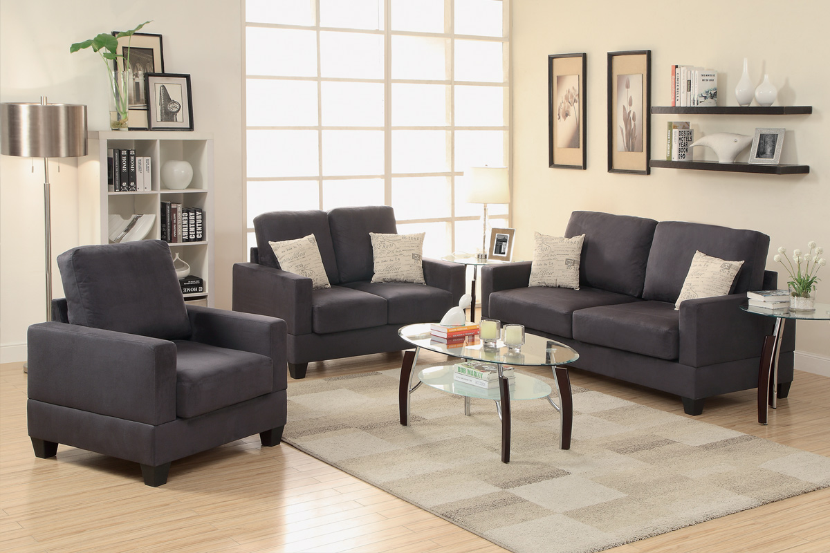 leather couch and chair set shoulder stand grey fabric sofa loveseat steal a