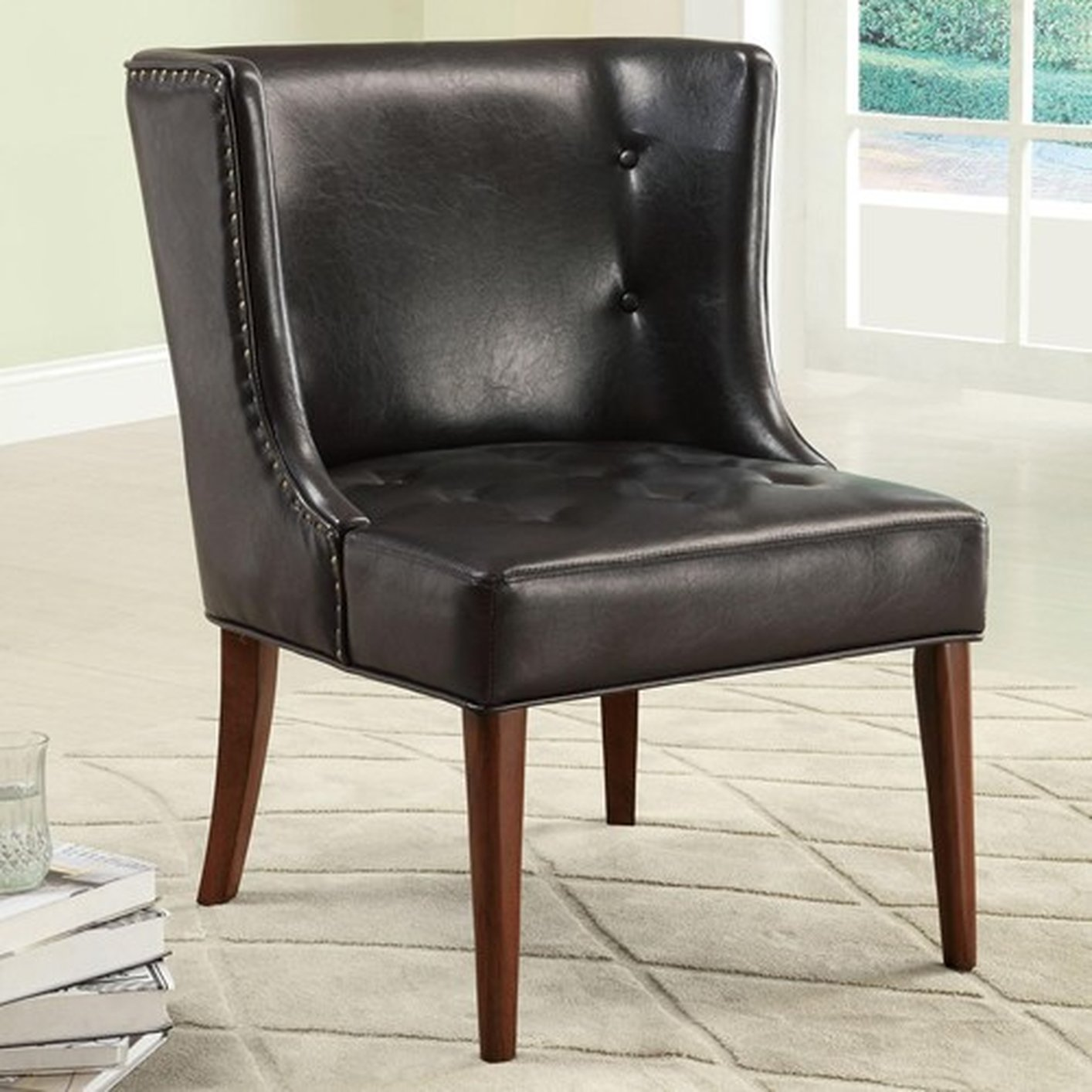 Black Leather Accent Chair  StealASofa Furniture Outlet
