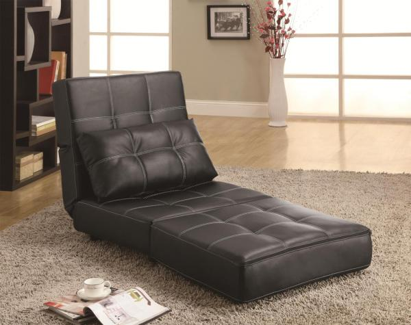 Black Leather Armless Chair - Steal-sofa Furniture