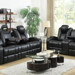 Leather Power Reclining Sofa And Loveseat Sets Black Recliner Chair Set
