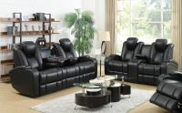 Black Leather Power Reclining Sofa and Loveseat Set ...