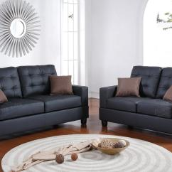 Leather Couch And Chair Set Office Depot Mats Black Sofa Loveseat Steal A