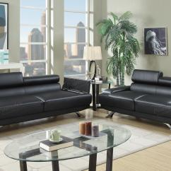 Black Modern Sofa Set Bed In Sg Leather And Loveseat Bonded
