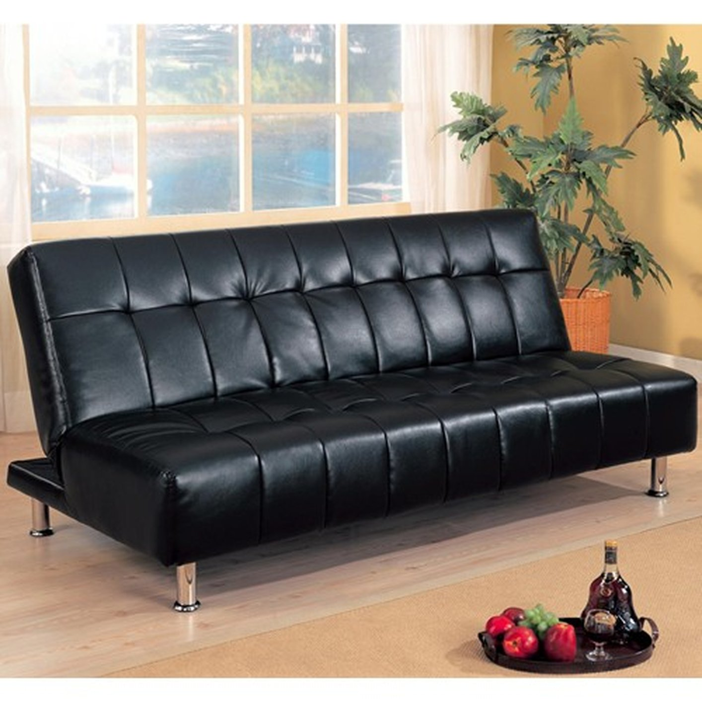 black and white leather sofa bed small chesterfield uk steal a furniture outlet los