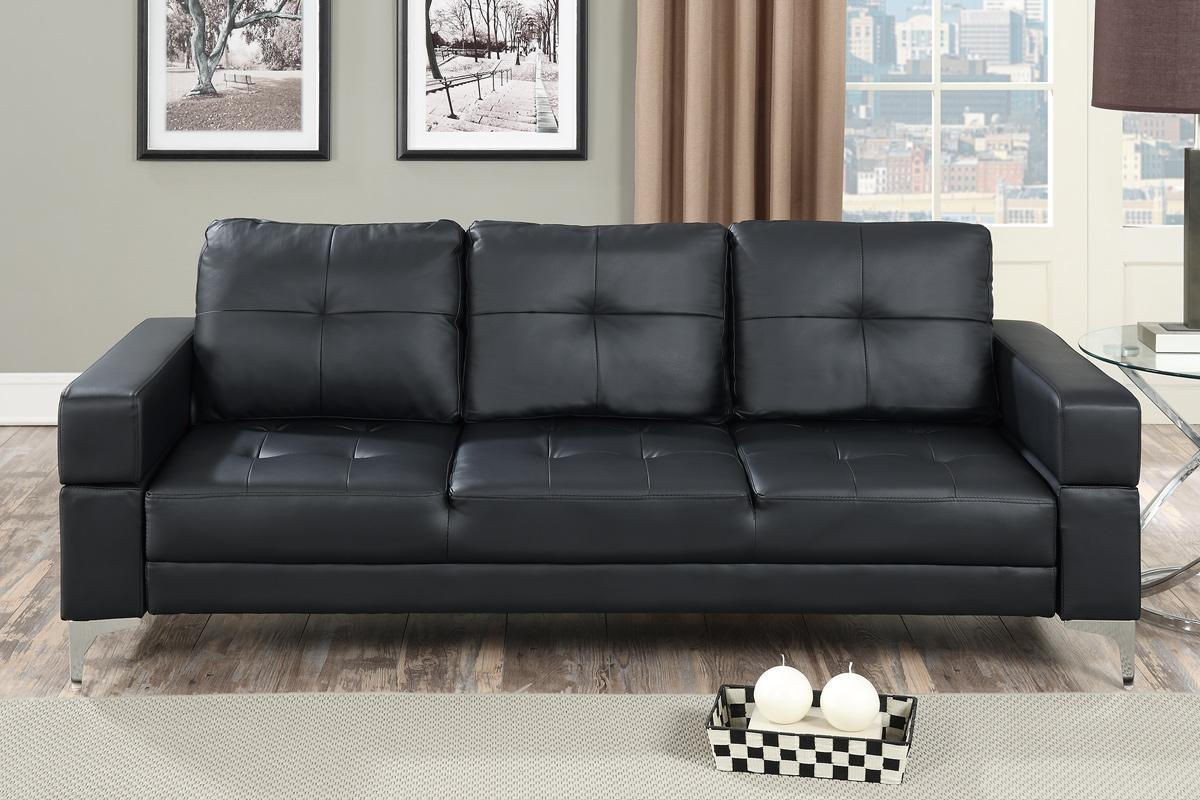 Black Leather Sofa Bed  StealASofa Furniture Outlet Los Angeles CA