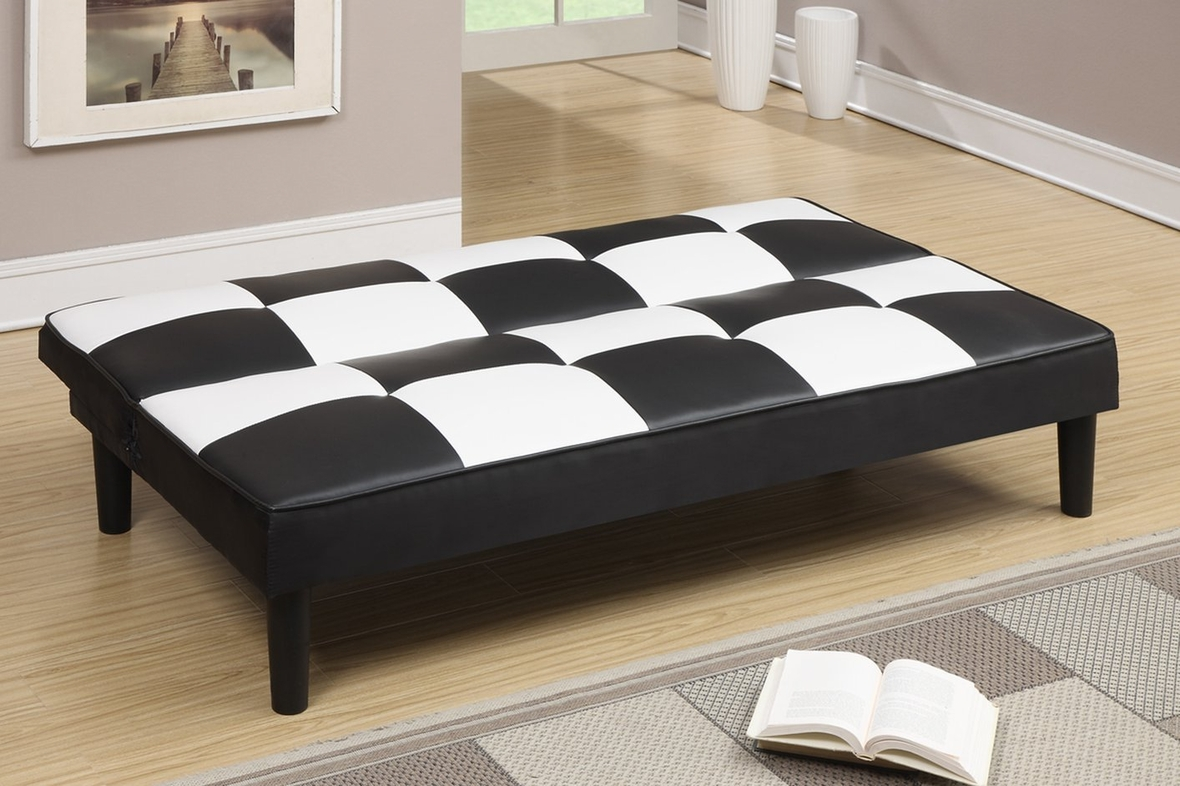 twin sofa bed leather cheap 3 seater malaysia poundex f7002 black size steal a