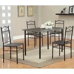 Dining Table With Metal Chairs Posture Chair Benefits Black And Set Steal A Sofa